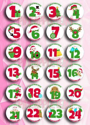 Personalizzata Di 24 Giorni Di Natale Avvento Calendario Adesivi Etichette Tag-mostra Il Titolo Originale