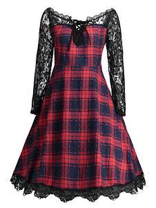TALLA-GRANDE-xl-5xl-Mujer-Vestido-Con-Vuelo-Detalle-De-Encaje-Vintage-Cuadros