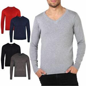 New Mens V Neck Jumper Soft Cotton Pullover Knitted Plain Designer Sweater Tops