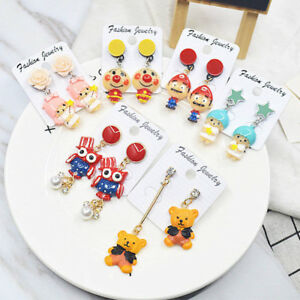 Novelty-Cute-Cartoon-Animal-Bear-Earrings-Acrylic-Resin-Earrings-Studs-Jewellery