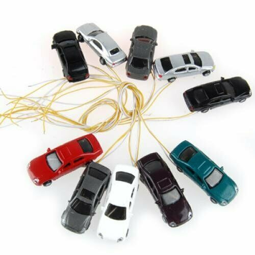 T6R6 1-150 N 10 rooms painted light burning car model scale cable w