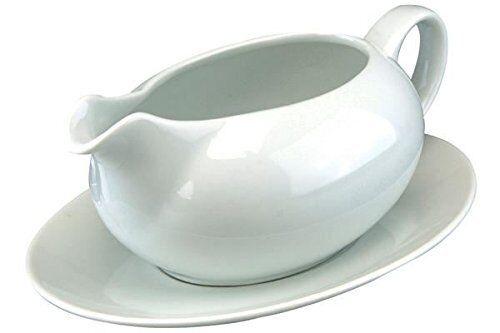 Vinci Porcelaine Sauce Bateau et soucoupe blanc 550 ml Dîner Vaisselle Sauce Serving