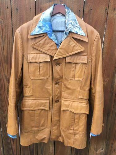 Mens Vintage Leather Jacket 40 1970's Mod