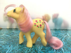 My-Little-Pony-G1-Posey-Euro-Dk-Tulips-Vintage-Hasbro-1984-Collectible-MLP-A-EXC