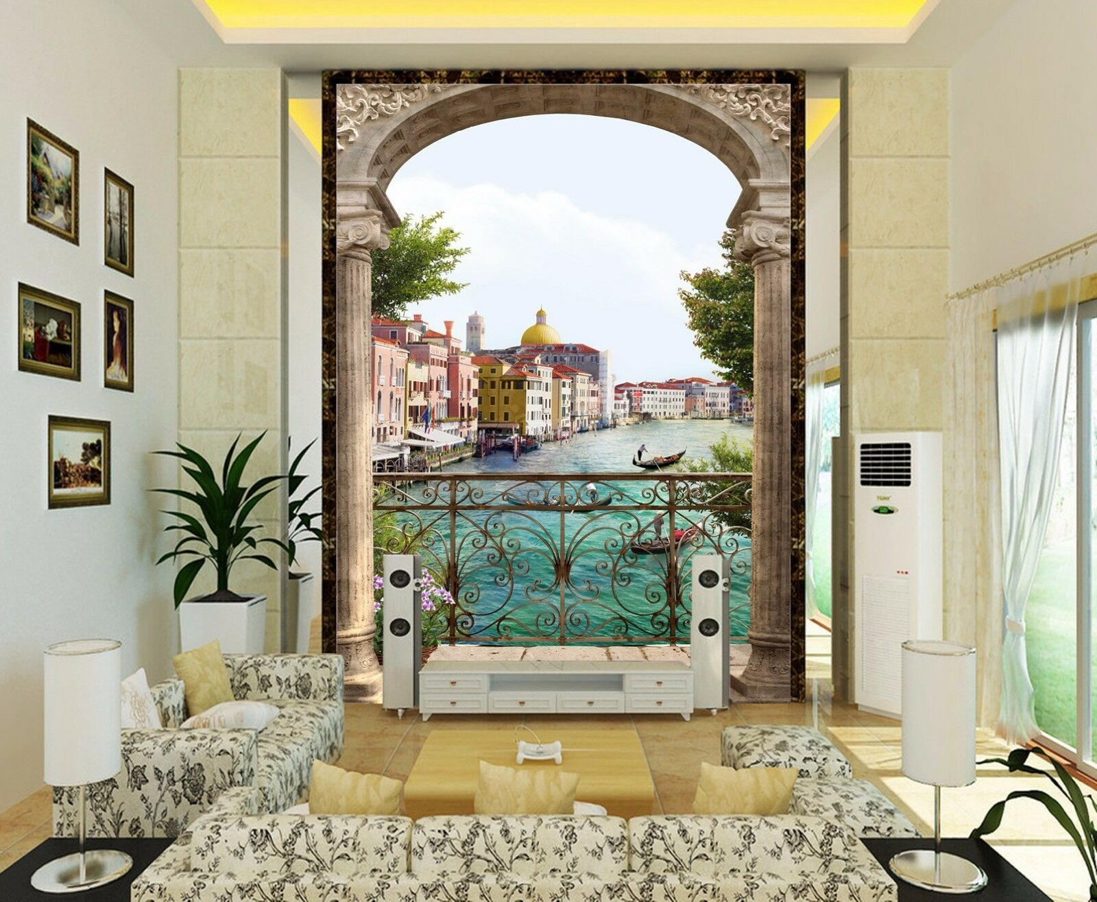 3D Sea Town Balcony 7 Wall Paper Murals Wall Print Wall Wallpaper Mural AU Lemon