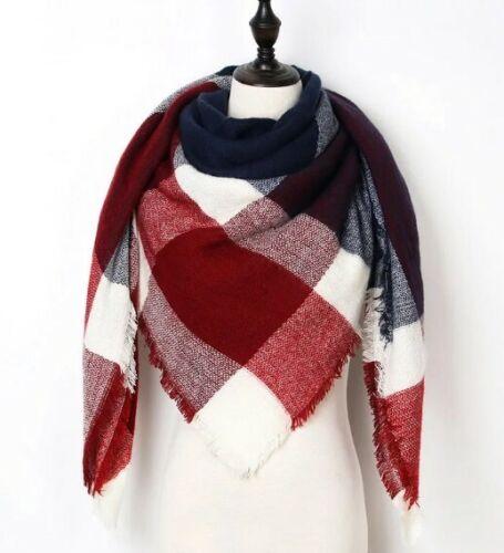 Hiver Printemps Chaud Scarf XXL écharpe triangle blanc bleu rouge pour l/'Automne