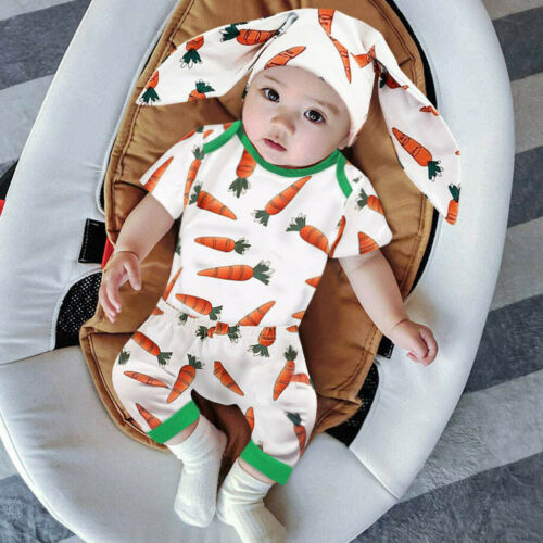 Infant Baby Boys Girls Easter Carrot Romper Jumpsuit Rabbit Ears Hat Outfit Sets