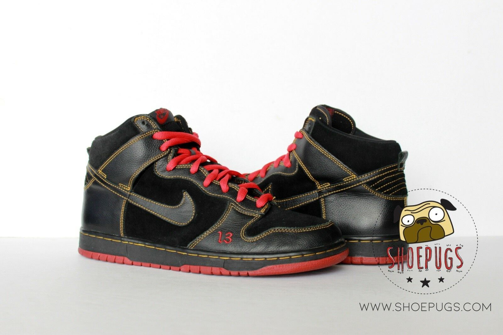 2004 Nike Dunk SB High Unlucky sz 10.5 w  Box black red supreme   TRUSTED SELLER