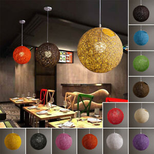 E27 Modern Round Rattan / Vine Style Ceiling Pendant Light Lamp Shades Lampshade