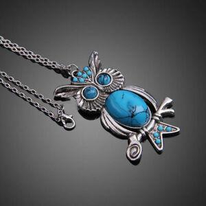 Tuerkis-kristall-Eule-Anhaenger-lange-silber-collier-vintage-Halskette-Schmuck