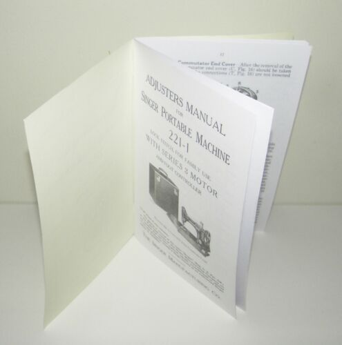 Singer Featherweight 221-1 Sewing Machine Adjuster Service Manual Copy