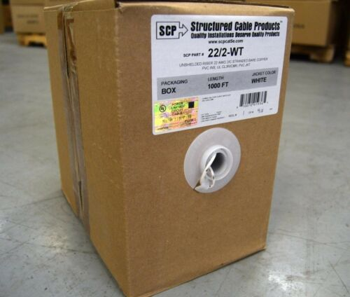 22 Gauge 1000/' FT White 2 Conductor Stranded Copper Security Alarm Wire UL Rated