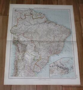 1927 VINTAGE ITALIAN MAP OF BRAZIL RIO DE JANEIRO INSET MAP GUYANA SURINAME