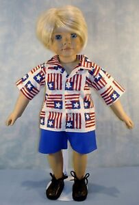 18 Inch Doll Clothes 4th of July Flag Shirt Shorts Set for Boys by Jane Ellen