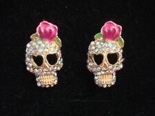 Sugar Skull Crystal Rose Diamanté Gold Colour Studs Rockabilly Vintage Goth Punk