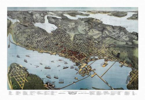 24x36 Vintage Reproduction Historic Map Seattle Washington King County 1891