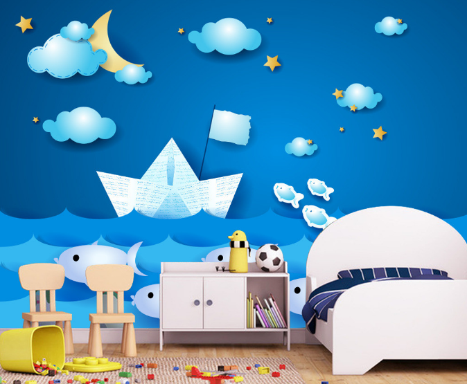 3D Cartoon Boat Weiß Coulds Paper Wall Print Wall Decal Wall Deco Indoor Murals