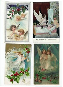Antique-Christmas-Angel-Postcards-Lot-of-4