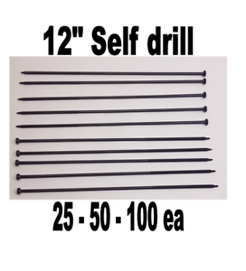 "12/"" self drill screws fasteners flat head metal wood outdoors roof log cabin"
