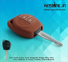 KeyZone Silicone Key Cover for Suzuki Swift, Dzire, SX4, Ertiga, WagonR (Cognac)