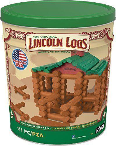 K'nex Lincoln Logs (00854) 100th Anniversary Tin Building Set Set Set Ages 3 671ca1