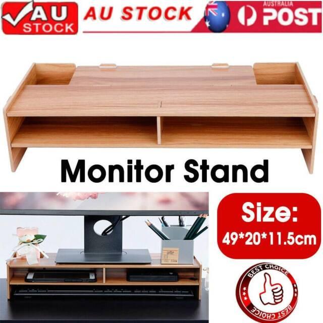 2Layer Wooden Monitor Stand LED LCD Computer Riser Desktop Holder Rack Bracket X
