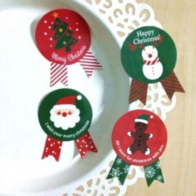 48Pcs Santa Claus Tree Snowman Sealing Sticker Paper Labels Envelope  Decor PMA