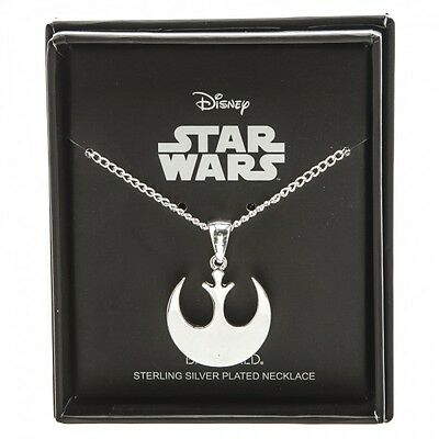 Star Wars Silver Rebel Fighters Symbol Charm Necklace New  18 inch chain