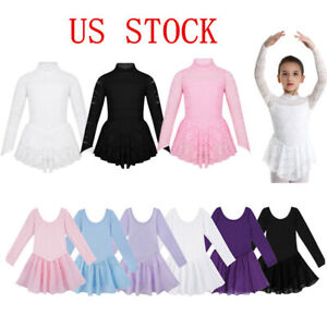 US-Girls-Ballet-Gym-Leotard-Dress-Kids-Gymnastics-Tutu-Skirts-Lyrical-Dancewear