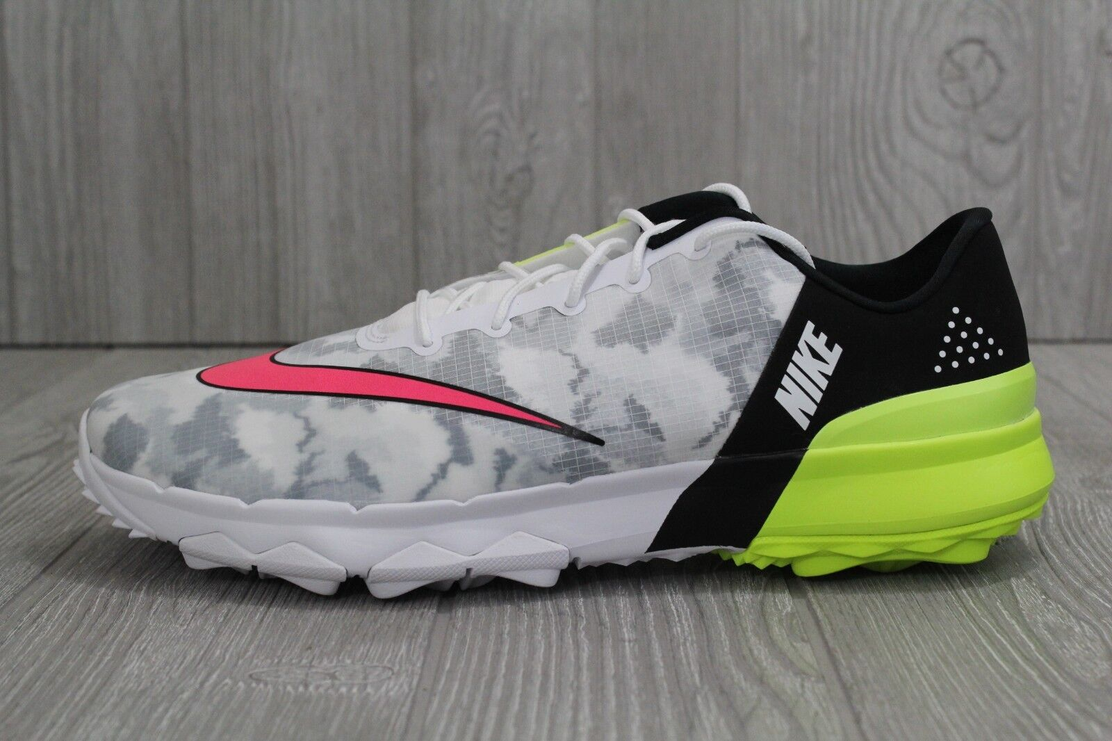 31 Mens Nike FI Flex Golf Shoes White/Racer Pink/Black/Volt 9.5-12 849960-101 Casual wild