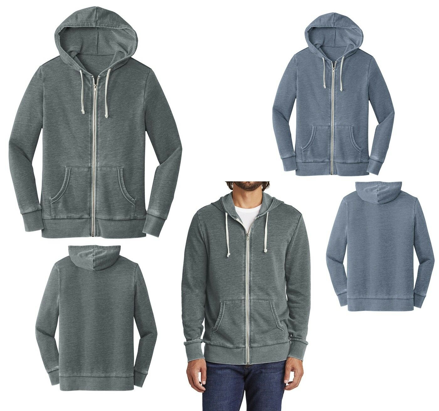 Herren FULL ZIP, SUPER SOFT, LIVED IN LOOK, BURNOUT HOODIE, DRAWCORD HOOD XS-3XL