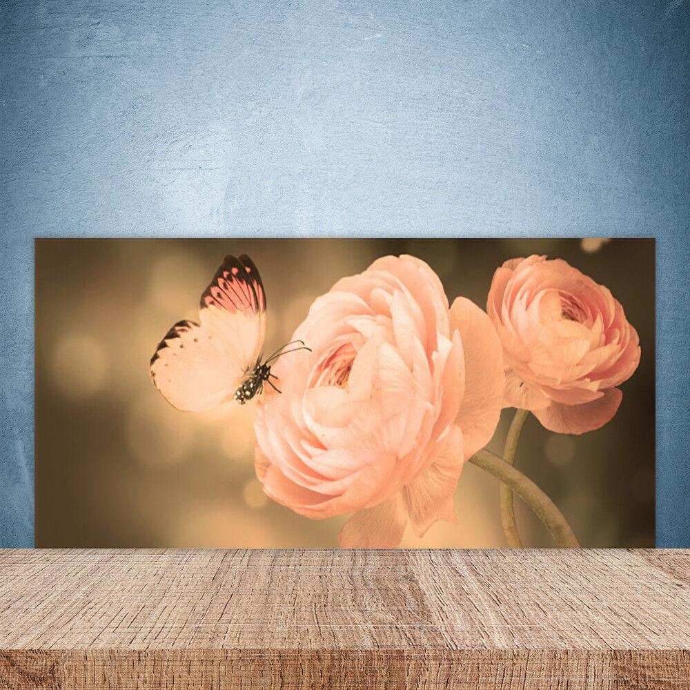 Crédence de cuisine en verre Panneau Paroi 100x50 Nature Roses Papillon