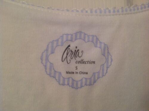 Bnwt Aria notte con taglia piccola da blu Camicia bianco Collezione Donna foglie OgPaa