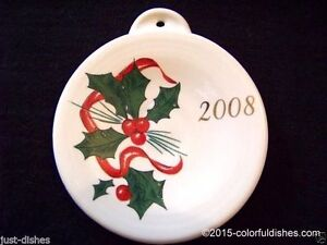 2008-Fiesta-WHITE-Post-86-HOLLY-amp-RIBBON-Ornament-1st-Quality