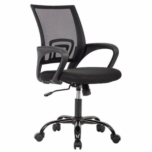 New Black Ergonomic Mesh Computer Office Desk Midback Task Chair w/Metal Base H3