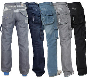 Mens-Enzo-Cargo-jeans-Combat-Casual-Denim-Trousers-Pants-All-Waist-Leg-Sizes