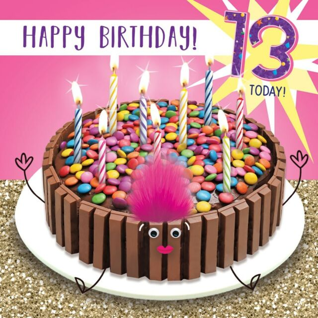 13th Birthday Card Chocolate Cake 3d Goggly Eyes Fluff 13 Today