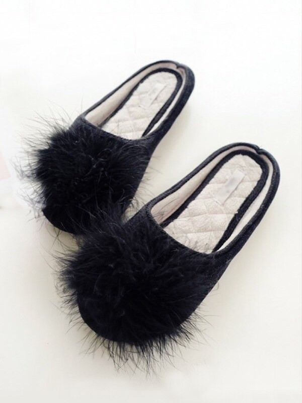 Womens Slippers Black Maribou Feather sizes 5/6 and 7/8