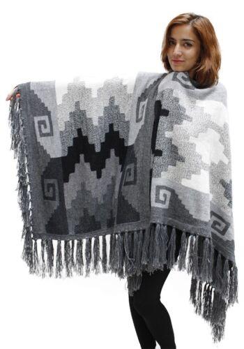 Women/'s Superfine Alpaca Wool Intarsia Handmade Fine Cape Ruana Poncho Wrap