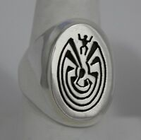Navajo Indian Ring Size 10 Man-in-the-maze Overlay Sterling Silver Calvin Peters