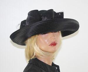 d006cdf4d56 GIOVANNIO Black Rolled Wide Brim Fascinator Hat Scarf Trim   Bow M L ...
