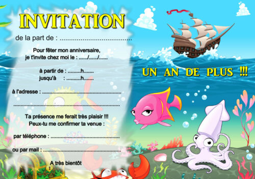 5 ou 12 cartes invitation anniversaire pirates mer poissons REF 368