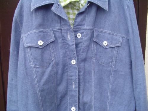 Veste boutons avec en lin en blancs Look et jean coutures 100 bleu contrastants rrqw8f0