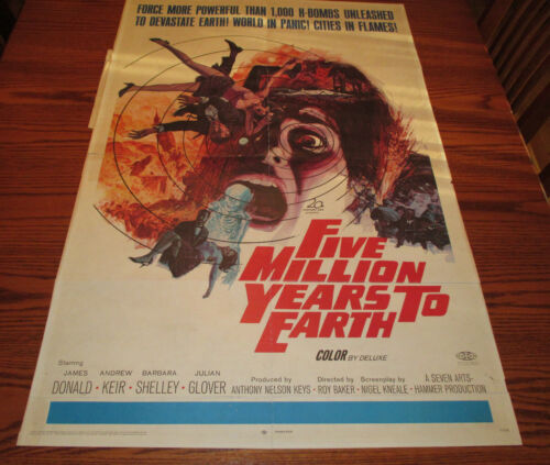 1967 Five Million Years to Earth 1-SH Movie Poster VG+ James Donald 67/414