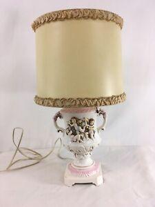 Vintage-Angels-Cherubs-Trophy-Handle-Ceramic-Table-Desk-Lamp