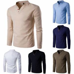 Fashion-Men-Stylish-Long-Sleeve-Shirt-V-neck-Casual-Slim-Tee-Shirt-Q