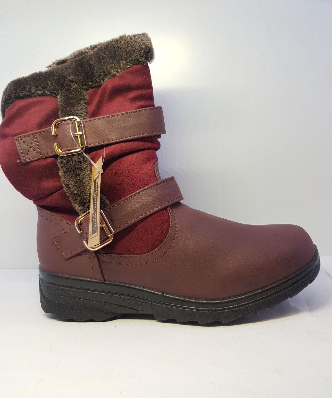 Cushion Walk Womens Faux Fur Casual Boots Wine Siz UK 7
