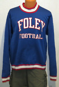 vtg-Champion-FOLEY-FOOTBALL-Nylon-Sweatshirt-2XL-school-team-80s-blue-rare-retro
