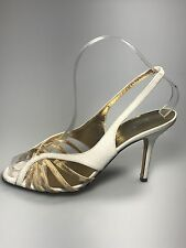 Dolce Gabbana Python Leather Beige Strappy Sling Back High Heel Sandal 36 / 6