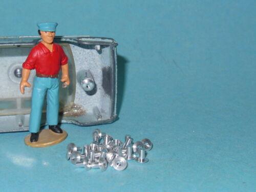 30 DTF724 Lot de 30 rivets en aluminium tourné pour restauration Dinky Toys